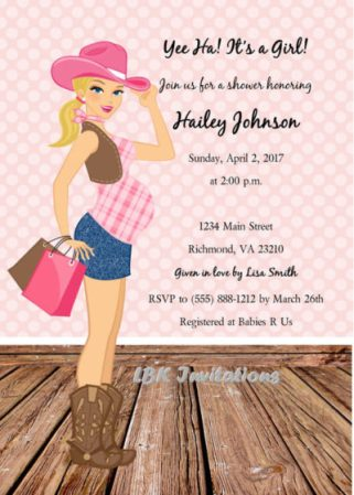 Digital cowgirl baby shower invite