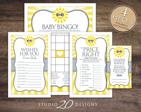 Printable Summer Sun baby shower game