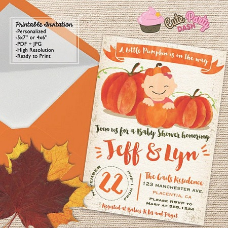 Baby in Pumpkin party invitation printable template