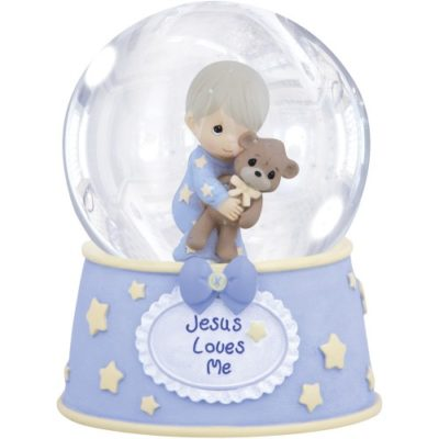 Musical boys Jesus loves me snowglobe
