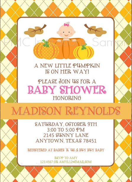 Little Pumpkin Halloween baby shower invite