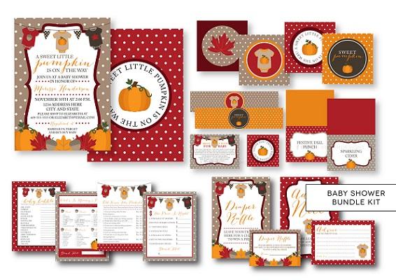 Digital Fall Pumpkin Harvest baby shower bundle