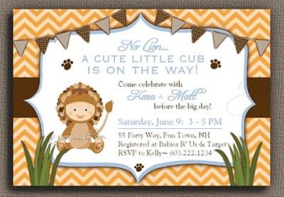 Digital Lion baby boy party invite