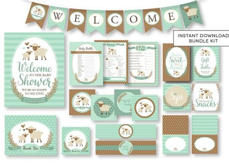 Printable little lamb baby shower theme