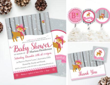 Printable Winter Deer baby shower supplies