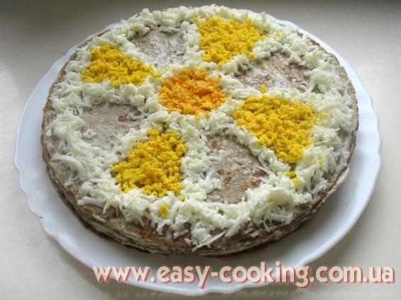 Закусочный торт, приготовленный из печени - Рецепт печеночного торта - Рецепты закусок - Кулинарный блог Катрусина кухня