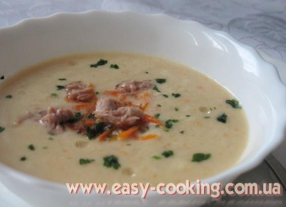 Сливочный крем-суп с консервированным тунцом и кукурузой - Рецепты первых блюд на кулинарном блоге Катрусина кухня