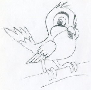 cartoon drawings easy bird simple sketches draw very learn drawing birds pencil outline cartoons line wings steps few feathers tail