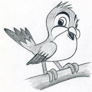 cartoon bird easy drawings draw sketches simple very head steps