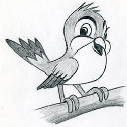 cartoon bird easy drawings draw sketches simple pencil very