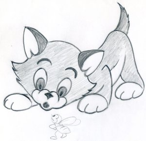 cartoon draw kitten easy drawings sketches simple cat drawing pencil characters kittens effortlessly easily few bee steps very