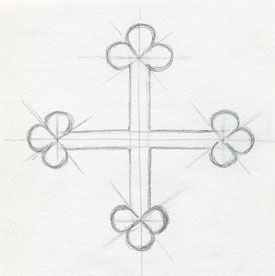 drawings cross crosses easy draw sketches drawing simple medieval help symbol trefoils diagonal arms four each end which