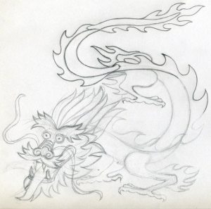 dragon drawing easy drawings sketches chinese simple