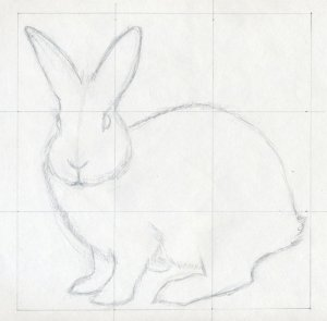 sketches easy rabbit bunny drawings draw drawing animal sketch pencil animals line simple grid outline contour realistic paintingvalley face head