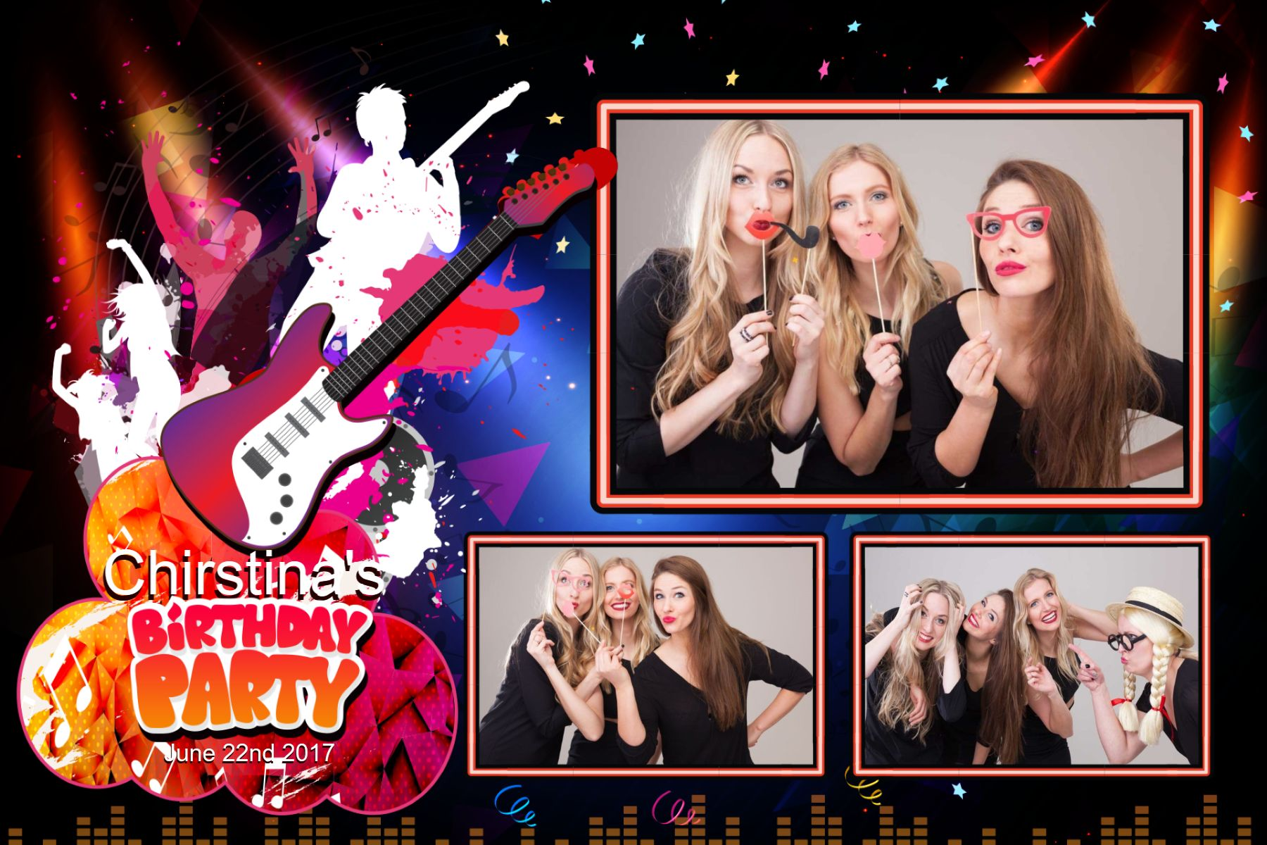 Birthday Rock Music Fotobox-Layout Layout