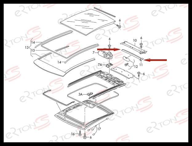 Sunroof Cover Slider Repair Clips FOR AUDI A3 S3 8V VW