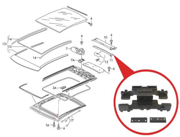 Sunroof Sunshade Repair Brackets FOR VW POLO V 6R VW UP