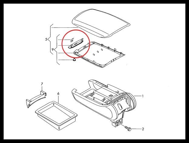 Centre Console Armrest Lid Latch Clip Catch AUDI A6 C6 4F