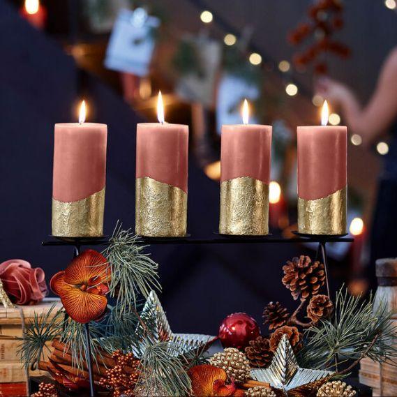 Kerzen rosa gold