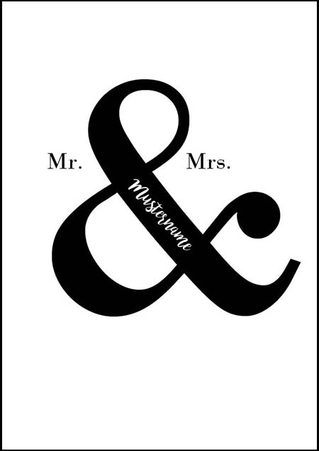 Poster Mr & Mrs, individualisieren
