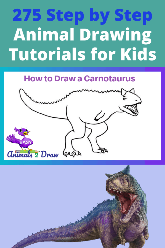 Pinterest image How to Draw a Carnotaurus