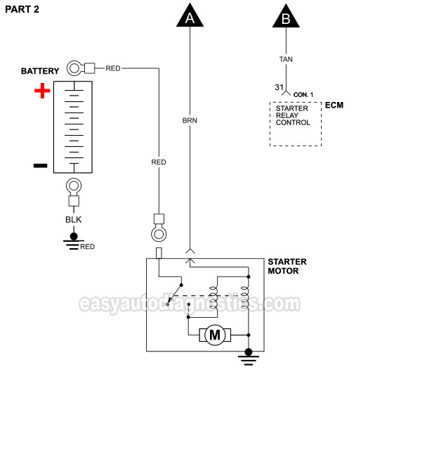 Starter Motor Circuit Diagram (1998-1999 3.8L Chrysler