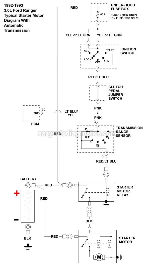 Ford Starter Relay Wiring Diagram : starter, relay, wiring, diagram, -1992-1994, Ranger, Starter, Motor, Circuit, Wiring, Diagram