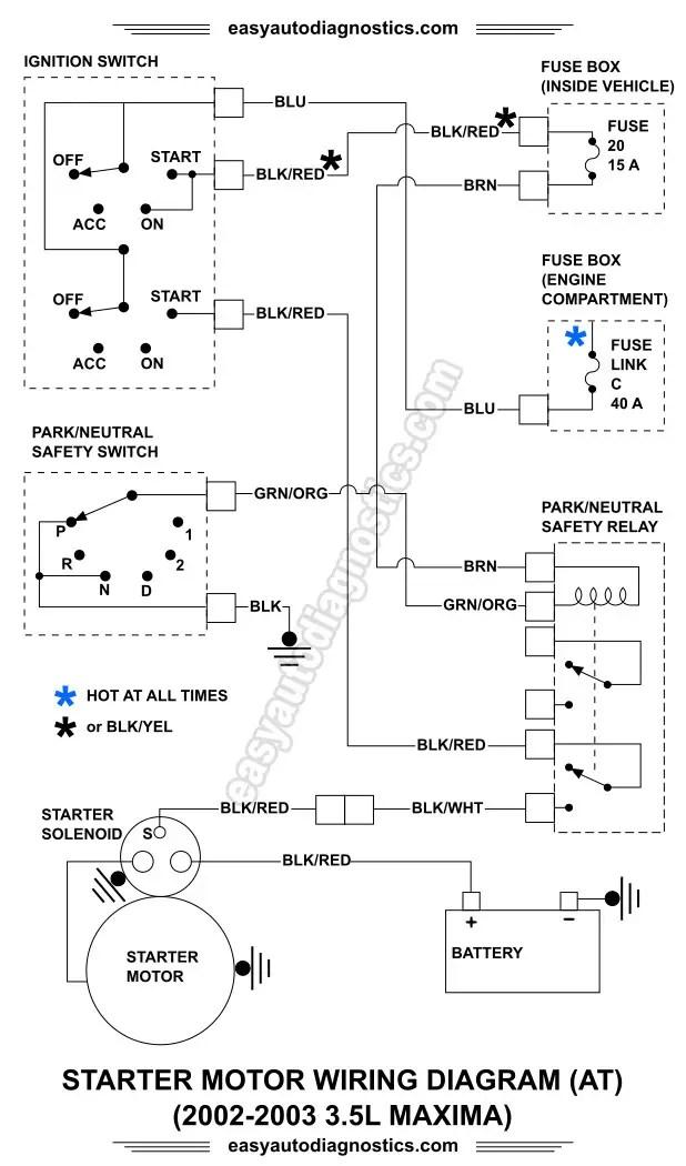 Part 1 2002 2003 3 5L Nissan Maxima Starter Motor Circuit Wiring