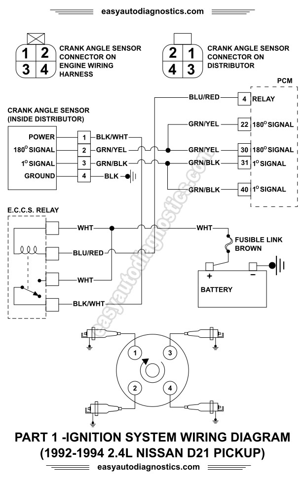 ignition coil wiring diagram chevy single phase 2 pole motor part 1 -1992-1994 2.4l nissan d21 pickup system
