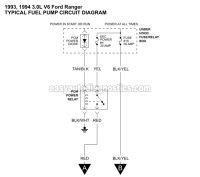 Part 1 -1993-1994 3.0L V6 Ranger Fuel Pump Circuit Diagram