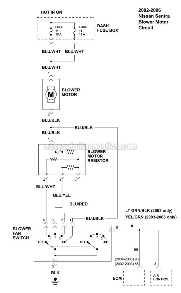 2006 nissan sentra engine diagram singer electric furnace wiring 2003 diagrams blower motor circuit 2002 2 5l rh easyautodiagnostics com ebay gxe