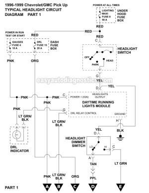 Part 2 Headlight Circuit Diagram (19961999 ChevyGMC