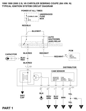 Ignition System Wiring Diagram (19982000 25L V6 Chrysler