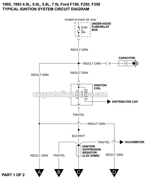 ford wiring diagram distributor ac outlet part 1 ignition system circuit 1992 1993 4 9l 5 0l and 8l