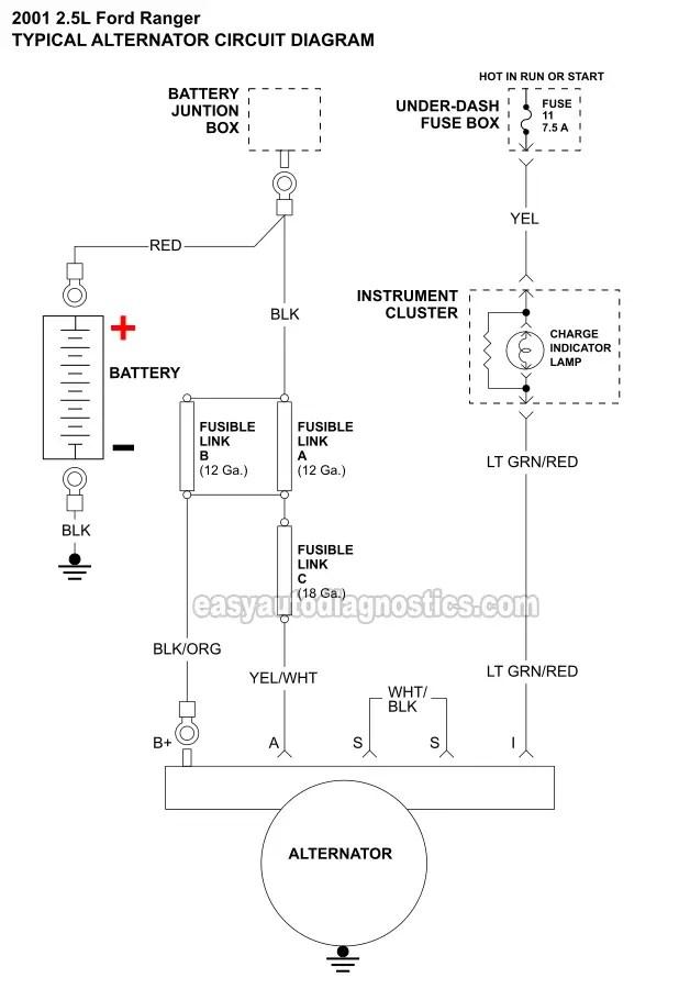 2 Wire Alternator Wiring Diagram : alternator, wiring, diagram, -Alternator, Circuit, Diagram, (1998-2001, Ranger)