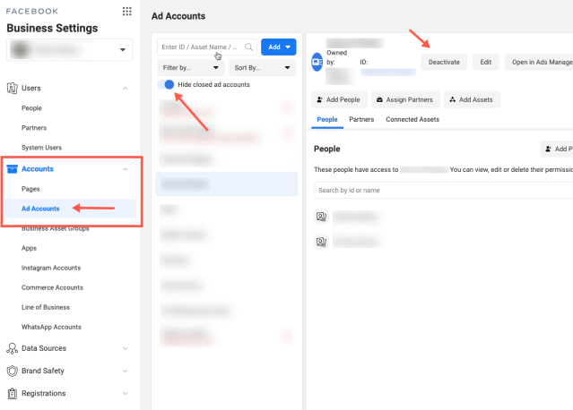 How to delete an ad account in the Facebook Business Manager
