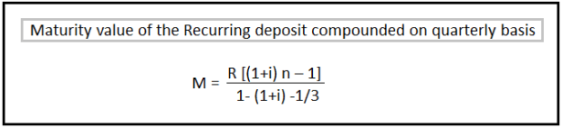 Recurring Deposit Interest Calculation Formula