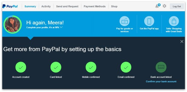 how to create PayPal account profile