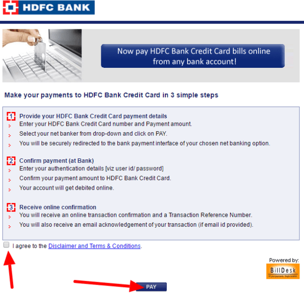 hdfc credit card payment through other bank