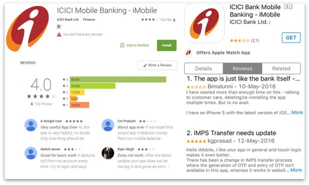 ICICI mobile banking app Abdroid and Apple