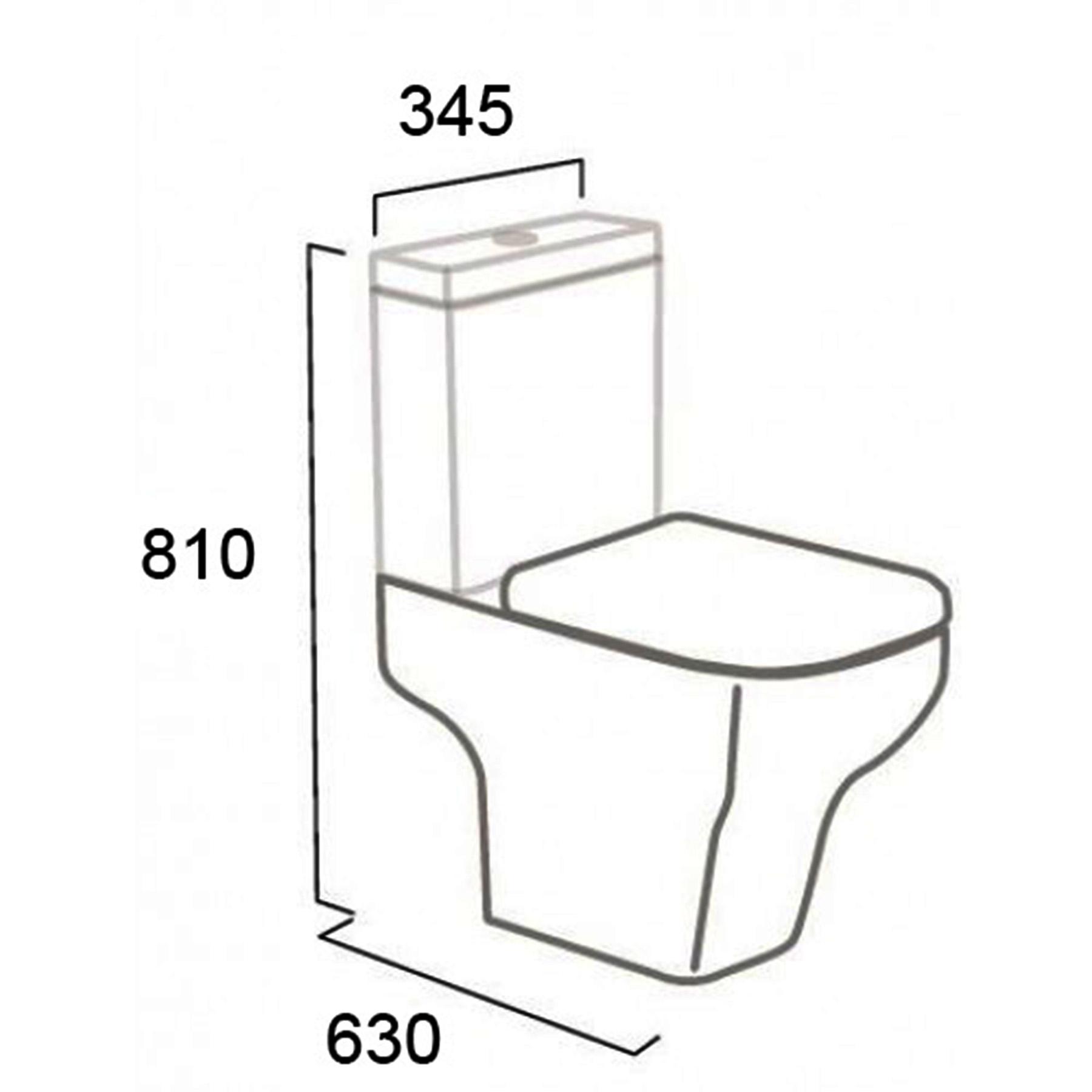 Bathroom Cube Gloss White Close Coupled Toilet Ceramic Wc