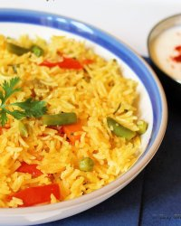Veg Tomato Pulav in microwave | Spiced Rice with vegetables and tomato