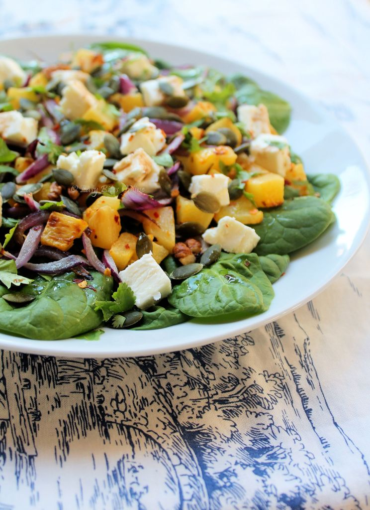 squash salad with spinach, feta, walnuts
