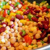 add chickpeas, red kidney beans. saute, cook