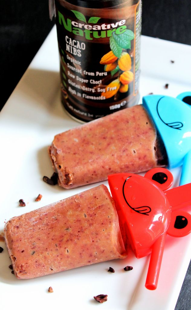plum avocado popsicles with creative nature cacao nibs