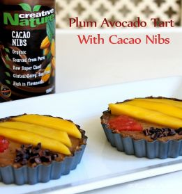 plum avocado no bake tart with creative nature cacao nibs