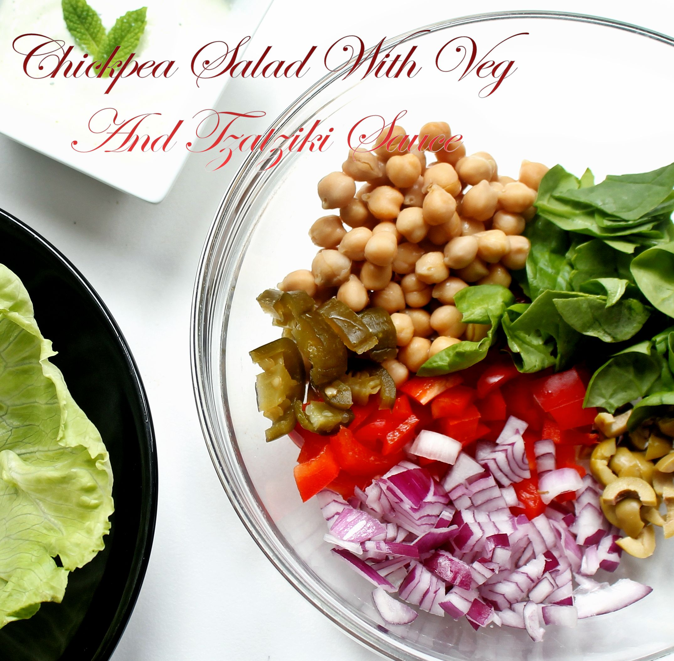 Chickpea Salad Lettuce Salad Wrap With Tzatziki Sauce