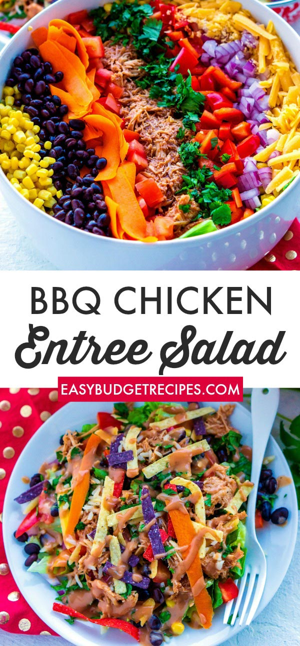 This BBQ Chicken Salad recipe is a delicious, easy recipe that feeds a crowd and satisfies everyone in the family. This recipe costs just $1.99 per serving. via @easybudgetrecipes