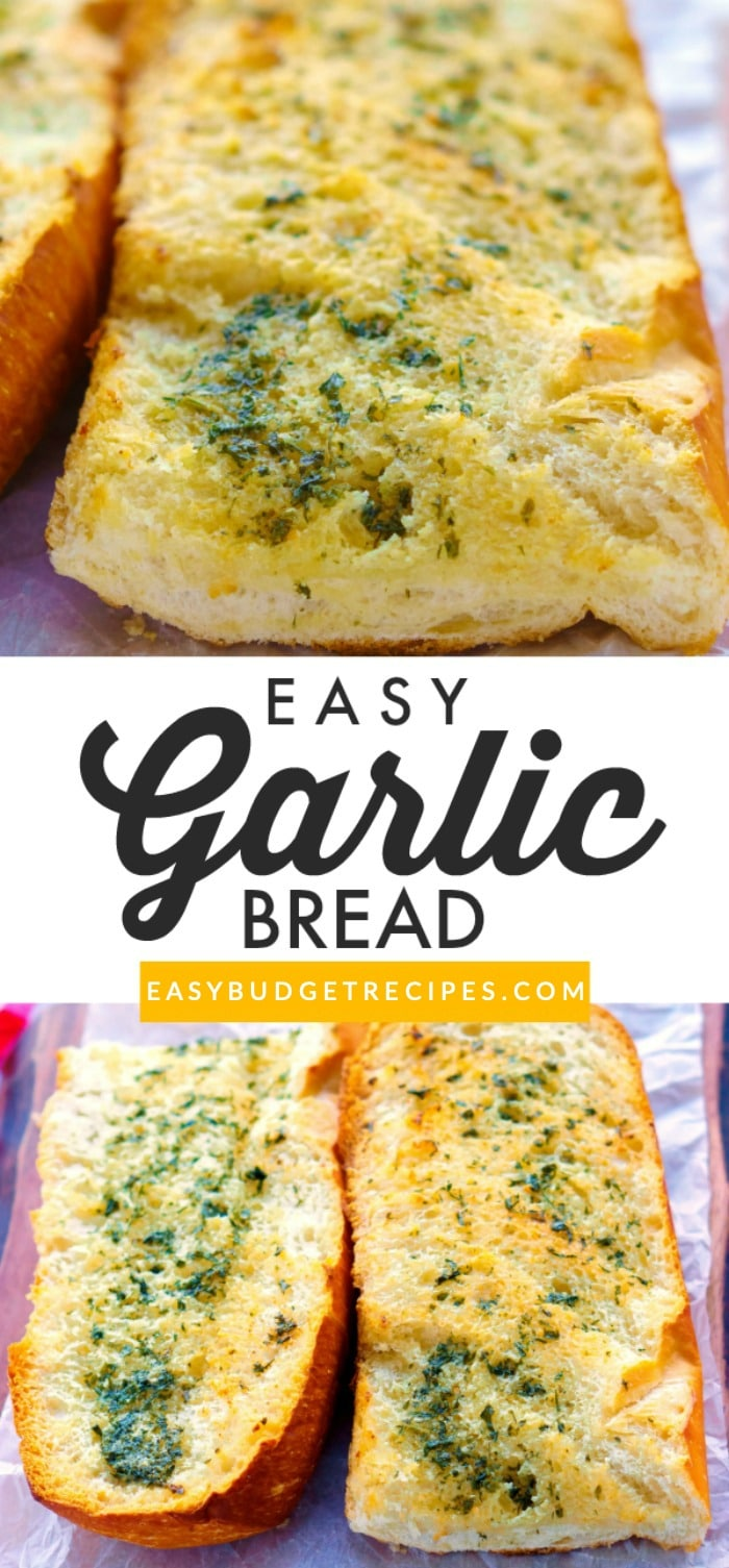 Picture collage of Garlic Bread for Pinterest.