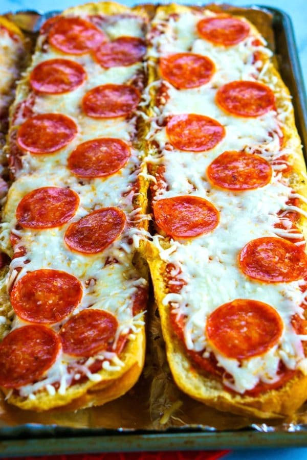 Pepperoni French Bread Pizza fresh out of the oven.